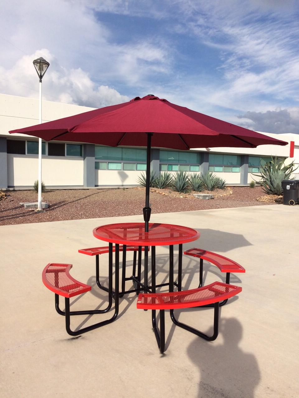mesa picnic redonda con sombrilla mesas de picnic y cafetera